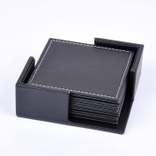 Leather Coasters with Holder Famibay Set of 6 Coaster for Tea Heat Resistant Square Cup Mats Coaster Sets