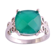 Narica Womens Brilliant Princess Cut Green Topaz Twisted Band Engagement Cocktail Ring