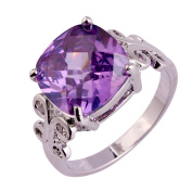 Narica Womens Brilliant Princess Cut Amethyst Twisted Band Engagement Cocktail Ring