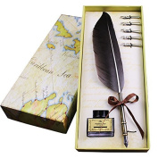 Antique Feather Calligraphy Pen Set Metal Nibbed Writing Quill Ink Dip Pen 5PCs Metal Nibs
