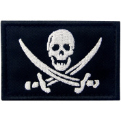 Pirate Flag Military Morale Fastener Hook & Loop Patch - White & Black