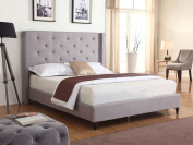 Home Life Premiere Classics Cloth Light Grey Silver Linen 130cm Tall Headboard Platform Bed with Slats Queen - Complete Bed 5 Year Warranty Included 007