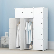 KOUSI Portable Clothes Closet Wardrobe Bedroom Armoire Storage Organiser with Doors, Capacious & Sturdy. 12 cube White