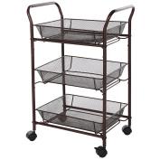 SONGMICS Bathroom Trolley Rolling Kitchen Storage Cart on Wheels 3-tier Shelves Bronze UBSC72A
