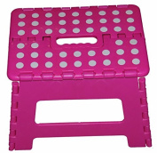 28cm Super Quality / Heavy Duty Folding Step Stool with handle, Non Slip for Adults and Kids, Saves Space, / Super Handy - Pink