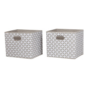 South Shore Storit Fabric Storage Baskets with Pattern (2 Pack), Taupe and White