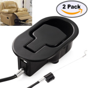 FOLAI Recliner Replacement Parts - Universal Black Metal Pull Recliner Handle with Cable - fits Recliner Couch Style Pull Chair Release Handle for Sofa-2 pack