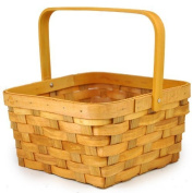 The Lucky Clover Trading Honey Woodchip Swing Square Handle Basket, Medium