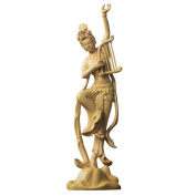 QHYT Home Decorations Chiese Ancient Lady Handcrafted gift Wood Carving Sculpture Harp