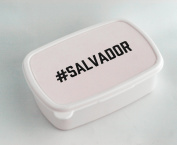 White lunch box with #SALVADOR