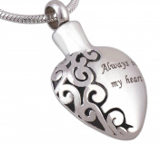 Epinki Stainless Steel Silver Always in My Heart Cremation Urn Necklace for Ashes Memorial Keepsake