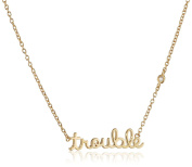 "Shy By Sydney Evan Sterling Silver Yellow Gold Plated ""Trouble"" Necklace with Diamond Bezel of 41.275cm"