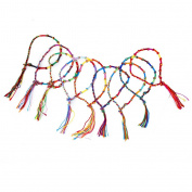RICISUNG 9 x Hippie Style Colourful Braided Friendship Bracelets Thread Wrist Ankle Bracelet Random Colour---Knurled