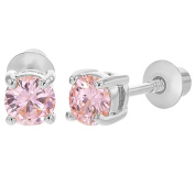Rhodium Plated Pink Crystal Safety Girls Kids Screw Back Earrings 4mm