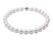 JYX Classic Round White Seashell Pearl Necklace 46cm
