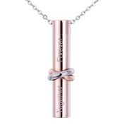 "VALYRIA Silver and Rose Gold Cremation Jewellery Stainless Steel Two-colour ring ""MISS YOU"" Cylinder Urn Pendant Memorial Ash Keepsake"