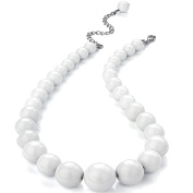 Pure white colour graduated bead choker necklace