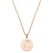 Zodiac Pendant Necklace Rose Gold Disc Horoscope Necklace Birthday Gift