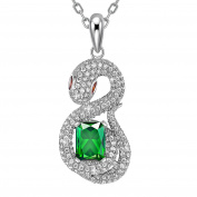 MARENJA White Gold Plated Necklace for Women with Crystal Serpent Pendant 44+5cm