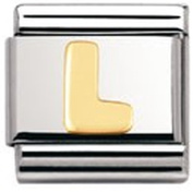 Nomination Composable Classic Letter L Stainless Steel and 18K Gold