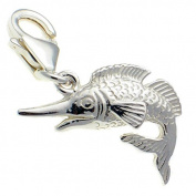 Welded Bliss Sterling 925 Silver Marlin Fish Clip On Charm Pendant WBC1556