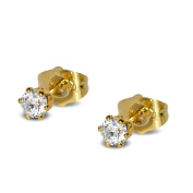Blue Diamond Club - Tiny 9ct Yellow Gold Filled Womens Stud Earrings Girls Round 4mm White Crystals 6 Claws