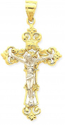 IceCarats 14k Two Tone Yellow Gold Inri Fleur De Lis Crucifix Cross Religious Necklace Pendant Charm