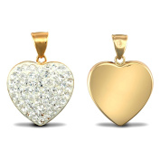 Jewelco London Ladies 9ct Yellow Gold White Round Crystal Love Heart Charm Pendant
