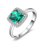 JewelryPalace Cushion 2.3ct Simulated Nano Russian Emerald Engagement Halo Ring Solid 925 Sterling Silver