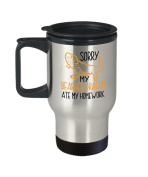 Animal Lover Travel Mug - Sorry My Bearded Ate My Homework - Kids Gift - 410ml Stainless Steel Coffee Cup