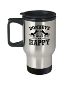 Donkeys Travel Mug - Make Me Happy - Gift For Animal Lovers - 410ml Stainless Steel Coffee Cup
