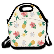 Waterproof Lunch Bag Pineapple And Flowers With Zipper And Adjustable Strap Lunch Tote Box Hand Bag Picnic Boxes Travel Food and Meal Bags Backpack