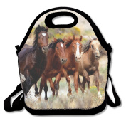 Waterproof Lunch Bag Wild-Horses With Zipper And Adjustable Strap Lunch Tote Box Hand Bag Picnic Boxes Travel Food and Meal Bags Backpack