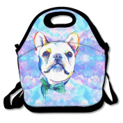 Waterproof Lunch Bag Funny Watercolour French Bulldogs With Zipper And Adjustable Strap Lunch Tote Box Hand Bag Picnic Boxes Travel Food and Meal Bags Backpack
