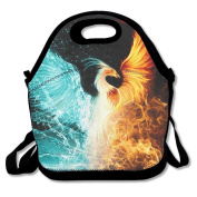 Waterproof Lunch Bag Fire Ice Phoenix With Zipper And Adjustable Strap Lunch Tote Box Hand Bag Picnic Boxes Travel Food and Meal Bags Backpack