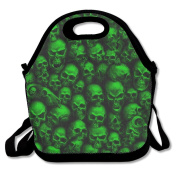 Waterproof Lunch Bag Green Skull Pattern With Zipper And Adjustable Strap Lunch Tote Box Hand Bag Picnic Boxes Travel Food and Meal Bags Backpack