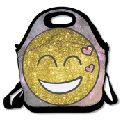 Waterproof Lunch Bag Golden Happy Emoji Heart With Zipper And Adjustable Strap Lunch Tote Box Hand Bag Picnic Boxes Travel Food and Meal Bags Backpack