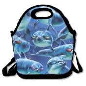 Waterproof Lunch Bag Funny Dolphins Picture With Zipper And Adjustable Strap Lunch Tote Box Hand Bag Picnic Boxes Travel Food and Meal Bags Backpack