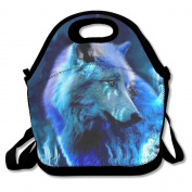 Waterproof Lunch Bag Blue Light Wolf With Zipper And Adjustable Strap Lunch Tote Box Hand Bag Picnic Boxes Travel Food and Meal Bags Backpack