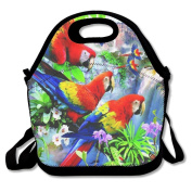 Waterproof Lunch Bag Bright Parrot With Zipper And Adjustable Strap Lunch Tote Box Hand Bag Picnic Boxes Travel Food and Meal Bags Backpack