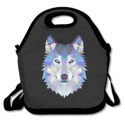 Waterproof Lunch Bag Wild Cool Wolf With Zipper And Adjustable Strap Lunch Tote Box Hand Bag Picnic Boxes Travel Food and Meal Bags Backpack