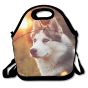 Waterproof Lunch Bag Cute Husky Huskie With Zipper And Adjustable Strap Lunch Tote Box Hand Bag Picnic Boxes Travel Food and Meal Bags Backpack