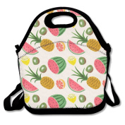 Waterproof Lunch Bag Tropical Fruit Pineapple Watermelon Lemon With Zipper And Adjustable Strap Lunch Tote Box Hand Bag Picnic Boxes Travel Food and Meal Bags Backpack