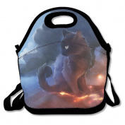 Waterproof Lunch Bag Cat Warrior With Zipper And Adjustable Strap Lunch Tote Box Hand Bag Picnic Boxes Travel Food and Meal Bags Backpack