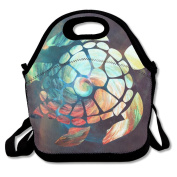 Waterproof Lunch Bag Space Watercolour Turtle With Zipper And Adjustable Strap Lunch Tote Box Hand Bag Picnic Boxes Travel Food and Meal Bags Backpack