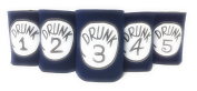 "Funny Neoprene Can Koozie/Coolers ""Drunk 2.5cm - 13cm Set - Navy"
