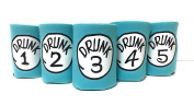 "Funny Neoprene Can Koozie/Coolers ""Drunk 2.5cm - 13cm Set - Aqua"