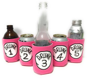 "Funny Neoprene Can Koozie/Coolers ""Drunk 2.5cm - 13cm Set - Hot Pink"