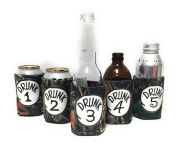"Funny Neoprene Can Koozie/Coolers ""Drunk 2.5cm - 13cm Set - Camo"