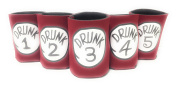 "Funny Neoprene Can Koozie/Coolers ""Drunk 2.5cm - 13cm Set - Red"